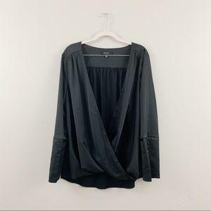 Isaac Mizrahi Black Split Drape Buttoned Blouse